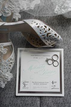 Betsy Johnson vintage, peep toe wedding shoe. Downtown Detroit Outdoor Rattlesnake Club Wedding on the Detroit Riverwalk in Detroit, Michigan by top rated Detroit wedding photographer, Kari Dawson