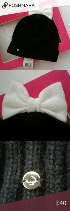 ♠New Kate Spade Black Beanie w/ White Bow New with tags and authentic Kate Spade Colorblock Bow Cuff beanie, so cute and warm! Retail $68 kate spade  Accessories Hats