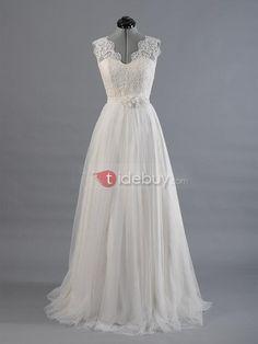 Floor-Length-A-Line-Scalloped-V-Neck-Wedding-Dress