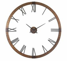 *NEW! The Uttermost 06655 Amarion Wall Clock is sure to add a touch of style to any room. This oversized wall clock was designed by Carolyn Kinder and features a thick border of stylish hammered copper sheeting. The light gray wash adds to its industrial appearance. The beautifully aged black Roman numerals are connected to the frame, while the matching center hub and hands are separate and move independently.