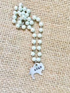 Silver Buffalo Roam Stamped Wander Free Spirit Pearl Necklace