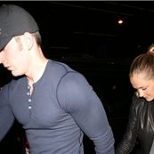 Blonde Minka Kelly and Chris Evans holding hands identically on their way out of Bootsy Bellows|Lainey Gossip Entertainment Update