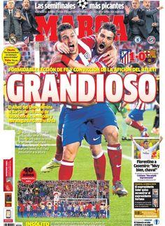 CHAMPION (2013-2014). Por primera vez, después de 40 años, el Atlético de Madrid alcanza la semifinal de la Champion tras vencer al Barça.