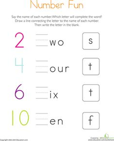 Kindergarten Phonics Letters Worksheets: Write the Missing Letter: Numbers