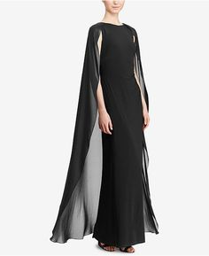 Ralph Lauren Lauren Georgette-cape Jersey Gown In Lighthouse Navy Capes For Women, Clothes For Women, Navy Blue Gown, Navy Blue Evening Gown, Sheer Gown, Blue Ball Gowns, Formal Dresses For Women, Nye Dresses, Evening Dresses
