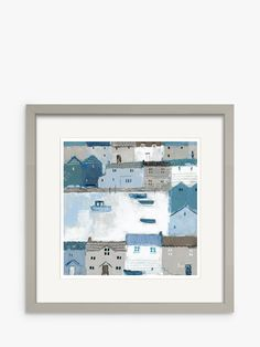 Buy Sabrina Roscino - Chambray Cottages Framed Print & Mount, 32 x Blue/Multi from our Pictures range at John Lewis & Partners. Taupe Paint, Blue Bedroom, Coastal Cottage, Textile Design, Painting On Wood, Chambray, Natural Light, Photo Galleries, Cottages