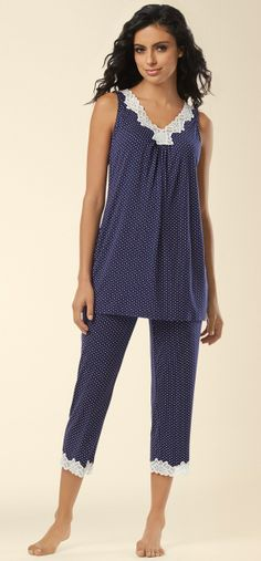 Soma Cool Nights Floral Lace Sleep Cami &  Cropped Pajama Pant in Little Dot Navy #LoveSoma #PJs