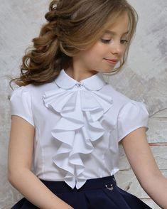 School kids Beautiful girls blouse with tuxedo neck Fashion Kids, Baby Girl Fashion, Dresses Kids Girl, Kids Outfits, Flower Girl Dresses, Kids Frocks Design, Baby Dress Design, Kids Gown, Girls Blouse