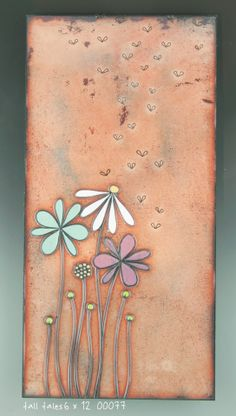 """Tall Tales"" Jenn Bell Metal, glass enameling over copper tiles @Earthwood Galleries"