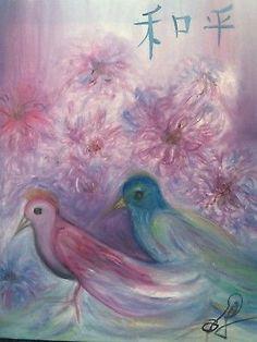 Modern-Chinese-Peace-Asian-Art-Purple-Chrysanthemum-Birds-Oil-by-Paula-Gabay