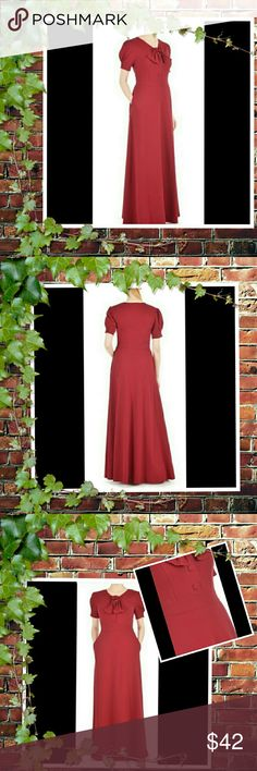 Sale🆕eshakti Maxi Knit Dress💋💋 New Eshakti red retro style maxi dress. Size 20 Measured flat: Underarm to underarm: 42in Waist: 39in Length: 54in Eshakti chart for bust size 20W: 47in Princess seamed bodice, partial side zip closure. V-neck with ties, short self-button front. Banded waist, *partially* elastic smocked cuffs. Side seam pockets. Cotton/spandex, jersey knit, light stretch, light structured feel, mid-weight. *Ask Questions B4 U Buy!* eshakti Dresses Maxi