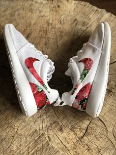 Nike Roshe Custom Red Pink Floral Design Fabric.