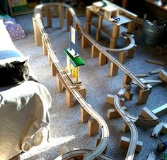 maya*made: classics - an amazing marble run made from train tracks and blocks!!