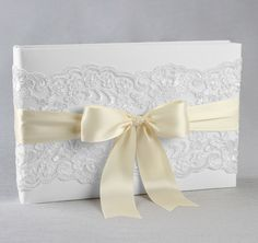 Chantilly Lace Custom Wedding Guest Book | White Wedding Guest Book | Ivory Wedding Guest Book