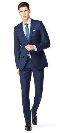You're in the lap of luxury now. We've taken our most popular wool navy suit and blended it with cashmere to heighten its sophistication. Cashmere is king, gentlemen.