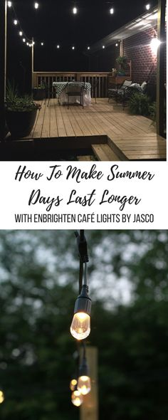 Installing Enbrighten Café Lights by Jasco are easy and add character to any space. Backyard Cafe, Outdoor Cafe, Outdoor Stuff, Poles For Outdoor Lights, Cafe Shop Design, Light Brick, Patio Ideas, Outdoor Ideas, Outdoor Decor