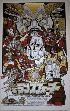 Such a great poster for the animated Transformers movie, featuring the characters in iconic poses from scenes in the movie.