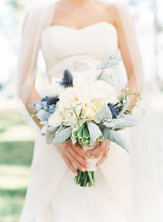 Gorgeous Bouquet of Cream and Sage with Soft Purple Hues #bridalbouquet