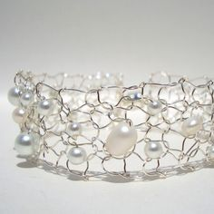 White Pearl Thin Cuff  / Luminous Pearl Beaded by lapisbeach, $45.00