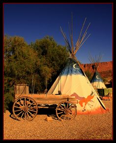 Wagon and Teepees by the Gallopping Geezer, via Flickr