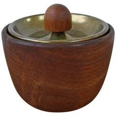 Carl Aubock Walnut Tobacco Pot with a Leather and Brass Lid