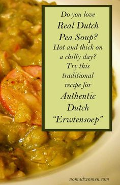 Traditional Dutch Pea Soup is a wonderful and hearty comfort food. For me, it's the taste of memory. Especially this recipe for Echte Hollands Erwtensoep. Amish Recipes, Soup Recipes, Dinner Recipes, Dutch Pea Soup Recipe, Netherlands Food, Amsterdam Netherlands, Best Street Food, Good Foods To Eat