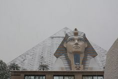 snow on the luxor hotel, las vegas