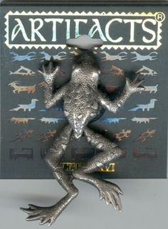 Pewter Frog - Dangling Moving Legs Pin by JJ - Gift Box