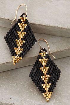 Earrings Beaded Diamante Drops, Brick Stitch Diamonds w size 11 Hex Beads Beaded Earrings Patterns, Jewelry Patterns, Diy Earrings, Hoop Earrings, Bracelet Patterns, Native Beading Patterns, Bead Patterns, Bead Earrings, Beaded Bracelets