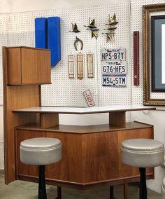 Mid Century Teak Boomerang Bar   With Removable Storage Extension  $1895  Mid Century Dallas Booth 766  Lula B's 1010 N. Riverfront Blvd. Dallas, TX 75207 Mid Century Bar, Mid Century Furniture, Teak, Dallas, Storage, Home, Decor, Purse Storage, Decoration