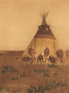 Teepee, Blood tribe n.d. [Note the medicine bundles on tripods alongside the tipi -- apparently a society lodge, perhaps  the Horn society. JE]