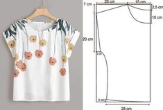 T Shirt Sewing Pattern, Skirt Patterns Sewing, Blouse Patterns, Clothing Patterns, Blouse Designs, Costura Fashion, Sewing Blouses, Make Your Own Clothes, Fashion Sewing