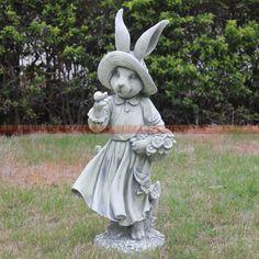 De style européen jardin cour jardin décorations ornements artisanat décoration de pays d'amérique animaux lapin(China (Mainland))
