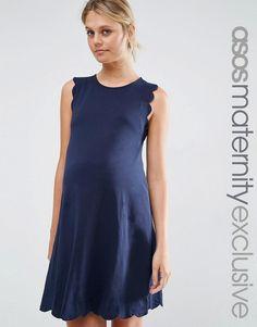 Image 1 of ASOS Maternity Shift Dress with Scallop Detail