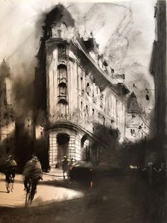 Alvaro Castagnet   Charcoal sketch PARíS!!, I did also a watercolor out of it..I…