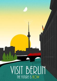 I visited Berlin for the first time and it blew my mind! When I came home, I was inspired by the TV tower to draw a futuristic/vintage poster.  Besuchen Sie Berlin Die Zukunft ist jetzt!  An original piece of artwork created by myself, made with digital techniques and scanned textures.  DIMENSIONS Including boarder.  297 mm x 420 mm  Every 250 gsm Silk Print is signed individually, sent carefully rolled inside a cardboard tube to ensure safe delivery. Thanks for looking! Be sure to get i...