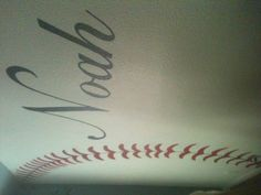 Noah's room - Baseball theme with his name - available on stick and peel fabric @ www.boysandgirlsmurals.com
