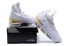 buy online fb96e d41e0 Nike LeBron 15 Men s Basketball Shoes White Gold