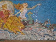 Waldorf ~ 4th grade ~ Norse Mythology ~ Frey and Freya ~ chalkboard drawing