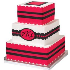 Distinctive Monogram Cake -- Red and black decorative strips add elegance to this Distinctive Monogram Cake. Decorated with Sugar Sheets and embellished with scalloped borders, this cake will make a big impression on your guests.