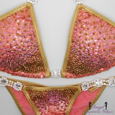 Crystal Firework: gold and pink on sequin coral/gold NPC competition bikini by NpcAngelBikinis on Etsy