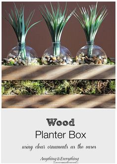 Wood Planter Box using clear ornaments as the vases is the perfect way to display succulents, or any house plants. This planter box is super easy to create Patio Planters, Diy Patio, Air Plants, Indoor Plants, Indoor Gardening, Clear Ornaments, Wood Planter Box, After Christmas, Christmas Decorations