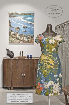 New dress, made by us in Wellington, from medium weight vintage cotton. Only one dress was made from this fabric