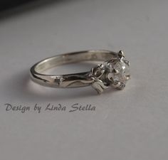 Sterling Flower Engagement Ring stone in 6 prong by LStellaJewelry, $69.50
