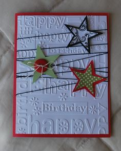Happy Birthday embossing folder with  Stars