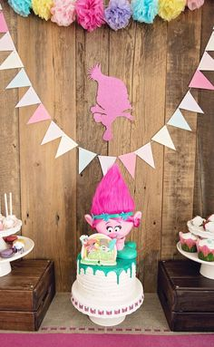 Trolls Cake from a Trolls Inspired Birthday Party #trolls #trollsparty #trollscake