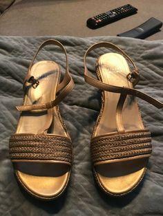 182f11e5b969 Stuart Weitzman Flatty Wedge Sandal Shoes Sz 8. Old Gold Raffia braid -   fashion
