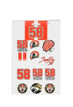Set of 12 large-sized stickers to personalise motorcycles and helmets with Marco Simoncelli symbols and logos. The Marco Simoncelli sticker set includes: 3 58 stickers, 2 small 58sic stickers, 1 large 58sic sticker, 2 jaguar stickers, 1 sic Race Your Life sticker, 1 Supersic sticker and 2 sic helmet stickers // Adesivi di Marco Simoncelli, taglia piccola #supersic #sic58