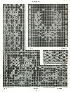 Filet Crochet vol. 2 Filet Crochet Charts, Crochet Borders, Crochet Cross, Crochet Home, Thread Crochet, Crochet Doilies, Knitting Stitches, Knitting Patterns, Crochet Patterns