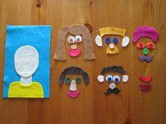 福笑いも簡単!台紙に顔の形を手芸用ボンドで貼って、顔のパーツを切るだけ! 材料も全部100均で揃うものばかりです。色んな顔ができて、子供も飽きませんね。発想力を鍛えるのにも役立ちます。